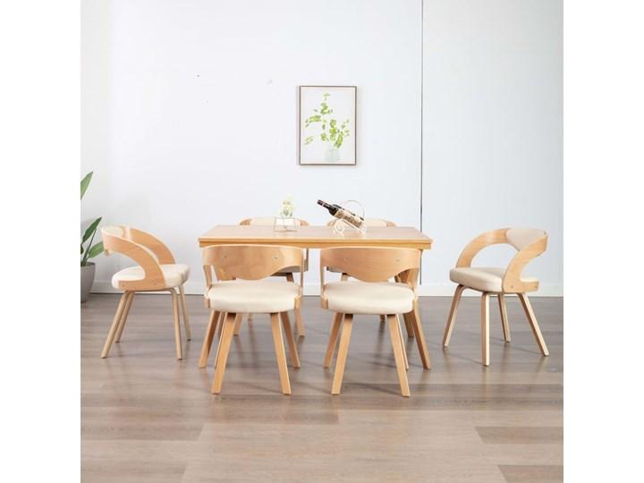 vidaXL Krzesła jadalniane, 6 szt., drewniana rama, kremowe, ekoskóra
