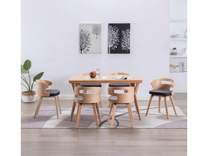 vidaXL Krzesła jadalniane, 6 szt., drewniana rama, czarne, ekoskóra
