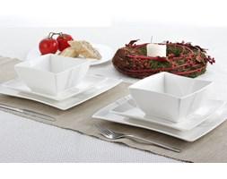 Serwis obiadowy kwadratowy SILVER LINE na 6 osób (18 el.) -- biały
