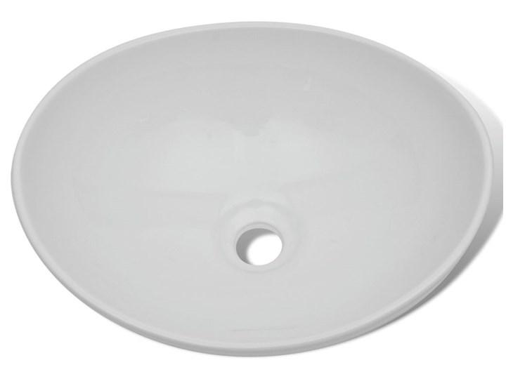 vidaXL Luksusowa ceramiczna umywalka, owalna, biała, 40 x 33 cm Kolor Biały Ceramika Owalne Szerokość 40 cm Kategoria Umywalki