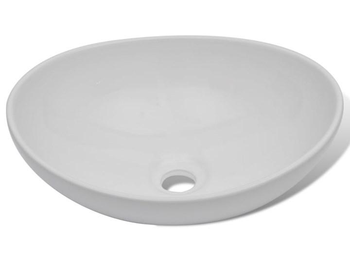vidaXL Luksusowa ceramiczna umywalka, owalna, biała, 40 x 33 cm Szerokość 40 cm Ceramika Kolor Biały Owalne Kategoria Umywalki