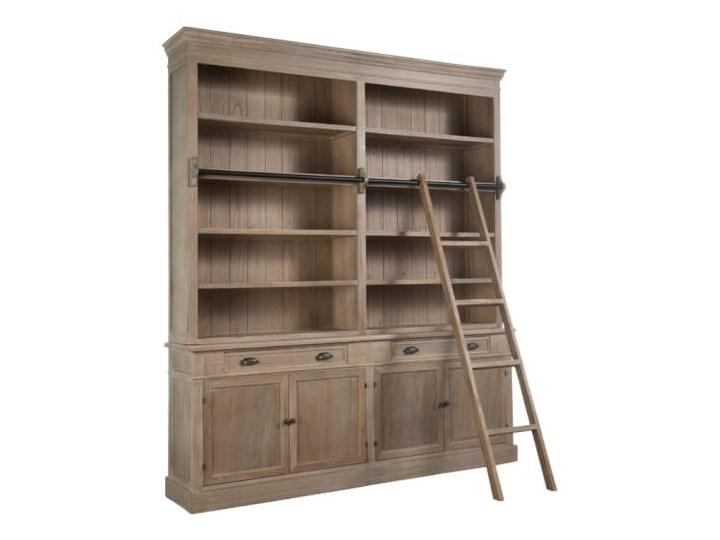 Biblioteka, regał z drabiną z dwoma szufladami, drewno, 232x200x41 cm (JL9461)