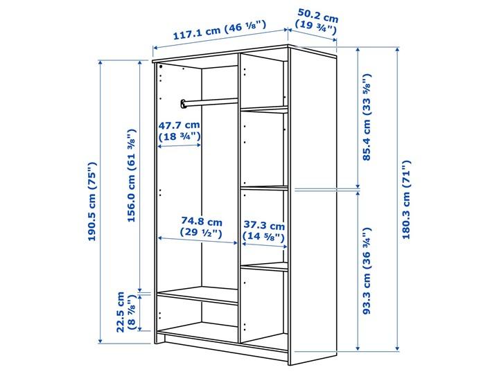 BRIMNES Szafa/3 drzwi Głębokość 50 cm Wysokość 190 cm Szerokość 117 cm Płyta MDF Typ Gotowa