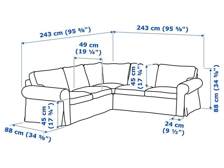 EKTORP Sofa narożna 4-osobowa Wysokość 88 cm Szerokość 243 cm Wysokość 45 cm Stała konstrukcja W kształcie L Strona Lewostronne Strona Prawostronne