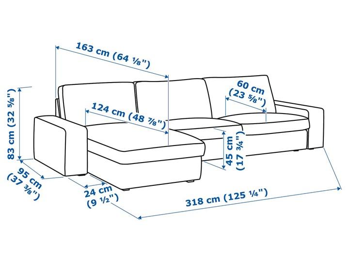 KIVIK Sofa 4-osobowa Wysokość 83 cm Wysokość 45 cm W kształcie L Stała konstrukcja Szerokość 318 cm Wykonanie siedziska Pianka