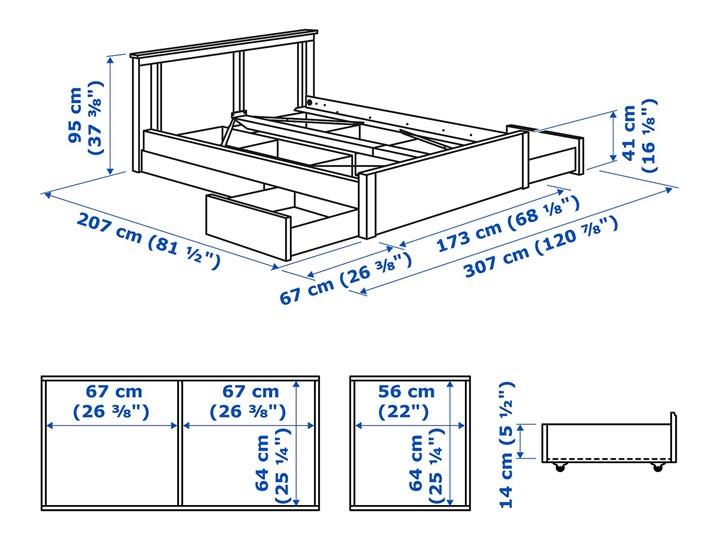 SONGESAND Rama łóżka z 4 pojemnikami Kategoria Łóżka do sypialni