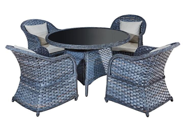 Zestaw obiadowy MODERNO szary technorattan okrągły stół Tworzywo sztuczne Tworzywo sztuczne Zawartość zestawu Z fotelem