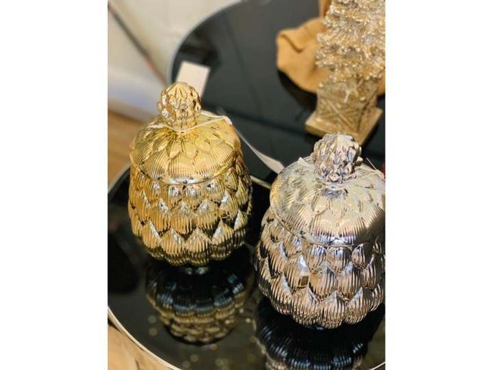 POJEMNIK CERAMICZNY ZŁOTA SZYSZKA WYBIERZ ROZMIAR CONE 13X13X24CM Kolor Złoty Ceramika Typ Pojemniki