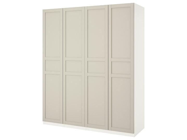 IKEA PAX Szafa, biały/Flisberget jasnobeżowy, 200x60x236 cm