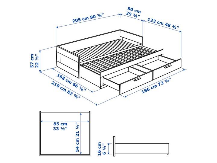 BRIMNES Leżanka z 2 szufladami, 2 materace Liczba miejsc Dwuosobowe Rozmiar materaca 80x200 cm