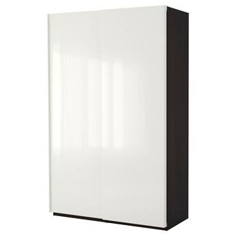 IKEA PAX Szafa, czarnybrąz/Hasvik połysk/biel, 150x66x236 cm