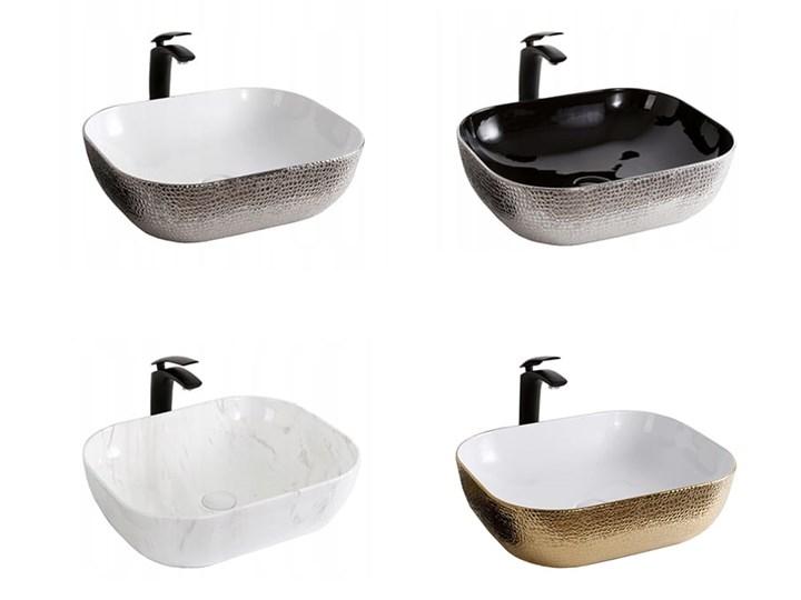 VELDMAN UMYWALKA NABLATOWA TOKYO BIAŁO-SREBNA SKÓRA WĘŻA Kategoria Umywalki Szerokość 50 cm Meblowe Nablatowe Ceramika Owalne Kolor Biały