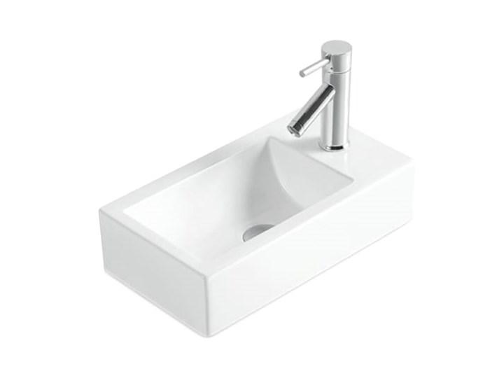 VELDMAN UMYWALKA PODWIESZANA CERAMICZNA ROXY Nablatowe Kategoria Umywalki Podwieszane Ceramika Prostokątne Szerokość 46 cm Kolor Biały
