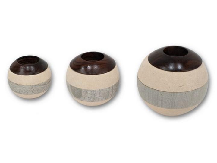 Komplet 2 świeczników Kulki  BALL COMBINATION Kolor Beżowy Ceramika Drewno Kategoria Świeczniki i świece