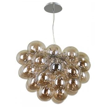 BENTO lampa wisząca pojedyncza 8 x 28W G9 żyrandol zwis nowoczesna szklana chrom koniak ITALUX PND-7273-S-8-CGN