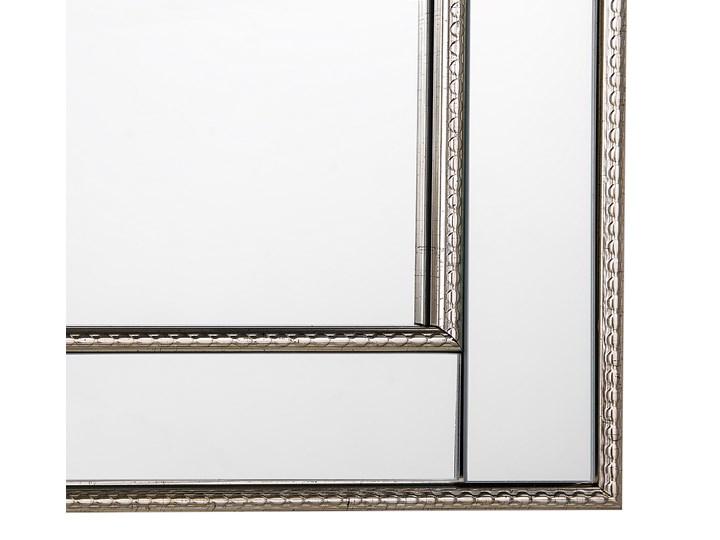 Lustro ścienne wiszące srebrne 60 x 90 cm Kolor Srebrny Lustro z ramą Prostokątne Pomieszczenie Salon