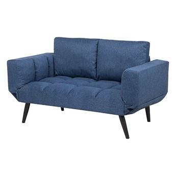 Sofa rozkładana niebieska 2-osobowa z funkcją spania styl skandynawski