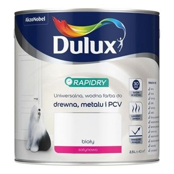 Farba do drewna i metalu Dulux Rapidry biała 2.5L