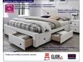 Łóżko białe Moris 2X 160x200 Łóżko tapicerowane Kategoria Łóżka do sypialni Kolor Biały