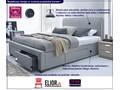 Łóżko białe Moris 2X 160x200 Łóżko tapicerowane Kolor Biały Kategoria Łóżka do sypialni
