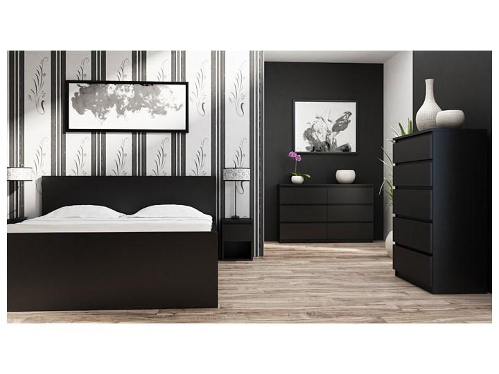 Komoda Marea 2X 140 cm - czarna Szerokość 138 cm Pomieszczenie Garderoba Wysokość 77 cm Z szufladami Styl Nowoczesny