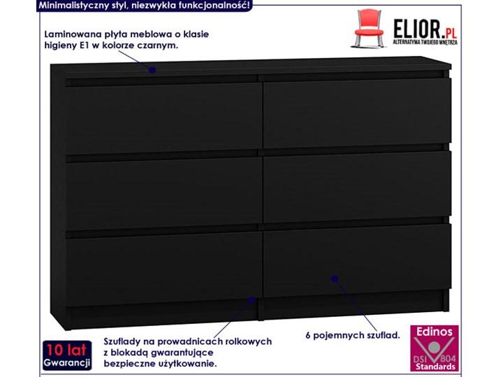 Komoda Marea 2X 140 cm - czarna Z szufladami Wysokość 77 cm Szerokość 138 cm Pomieszczenie Garderoba Styl Minimalistyczny