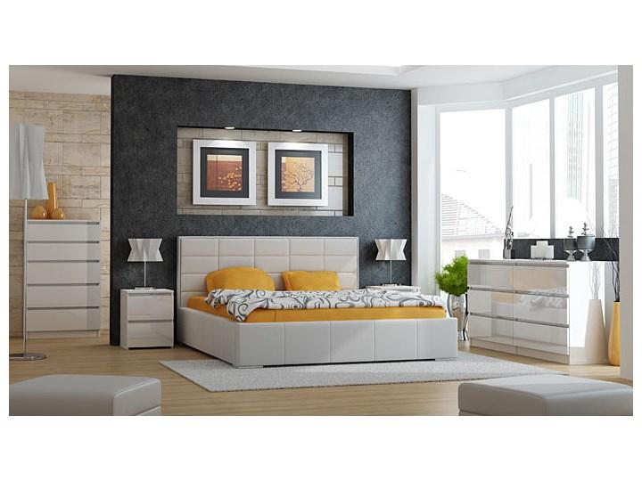 Lakierowana szafka nocna Siena 5X - biały połysk Styl Nowoczesny