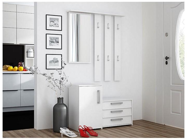 Garderoba z lustrem do przedpokoju Senea - biała Kolor Biały Kategoria Zestawy mebli do sypialni