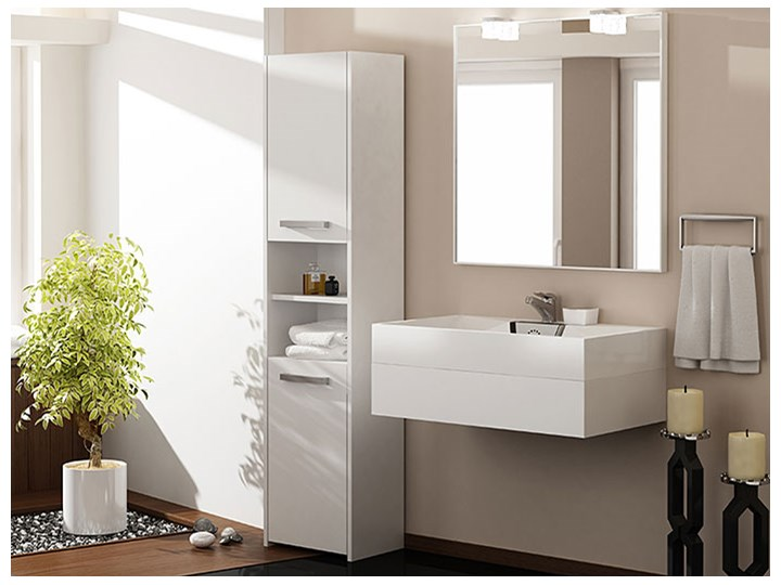 Szafka regał do łazienki Tosca 3X - biała Szerokość 40 cm Wysokość 170 cm Słupek Stojące Kategoria Szafki stojące Kolor Biały