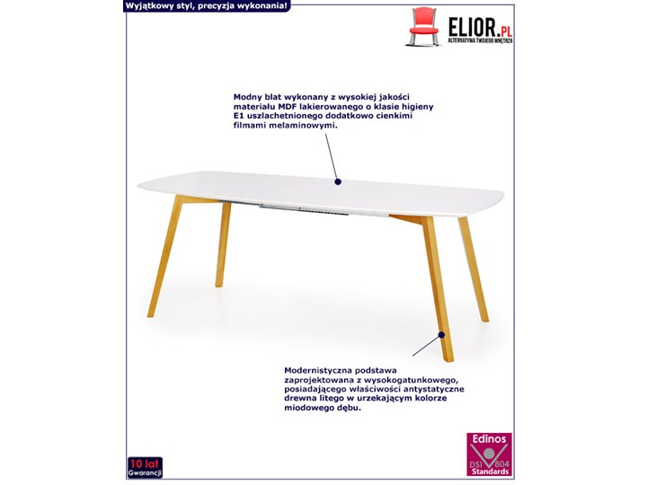 Rozkładany stół Modeo - biały Wysokość 76 cm Długość 150 cm  Drewno Kolor Beżowy