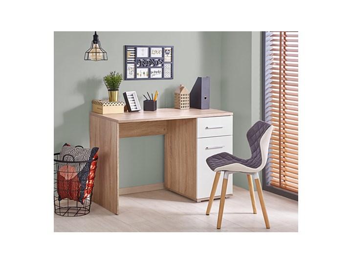 Nowoczesne biurko Lines - dąb sonoma - białe Szerokość 120 cm Głębokość 55 cm Styl Nowoczesny Kolor Beżowy