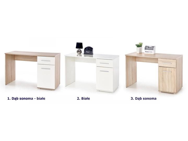 Nowoczesne biurko Lines - dąb sonoma - białe Szerokość 120 cm Głębokość 55 cm Kolor Biały Styl Skandynawski