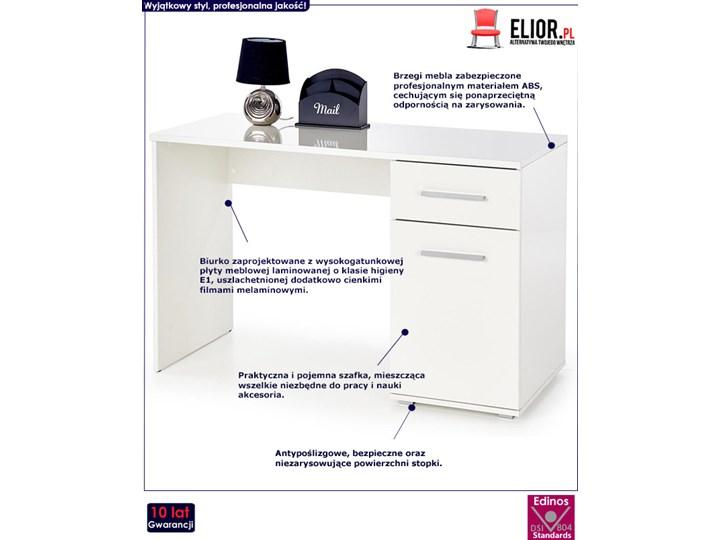 Modne biurko Lines - białe Płyta meblowa Szerokość 120 cm Głębokość 55 cm Styl Skandynawski Kolor Biały