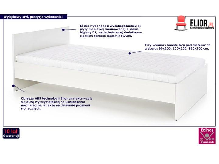 Jednoosobowe łóżko Lines 120x200 - białe Rozmiar materaca 120x200 cm Łóżko drewniane Kategoria Łóżka do sypialni