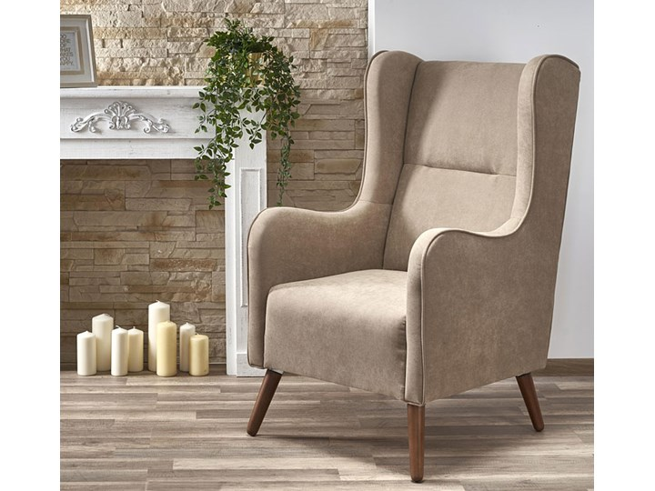 Fotel uszak wypoczynkowy Narin - beżowy Pomieszczenie Salon Wysokość 114 cm Fotel tradycyjny Kategoria Fotele do salonu