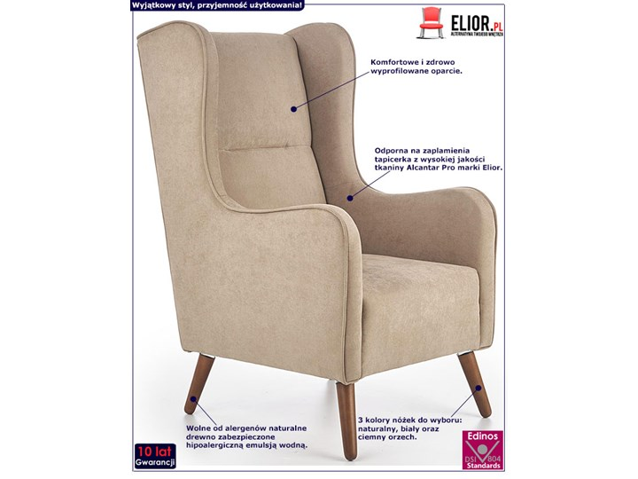 Fotel uszak wypoczynkowy Narin - beżowy Fotel tradycyjny Pomieszczenie Salon Wysokość 114 cm Kategoria Fotele do salonu