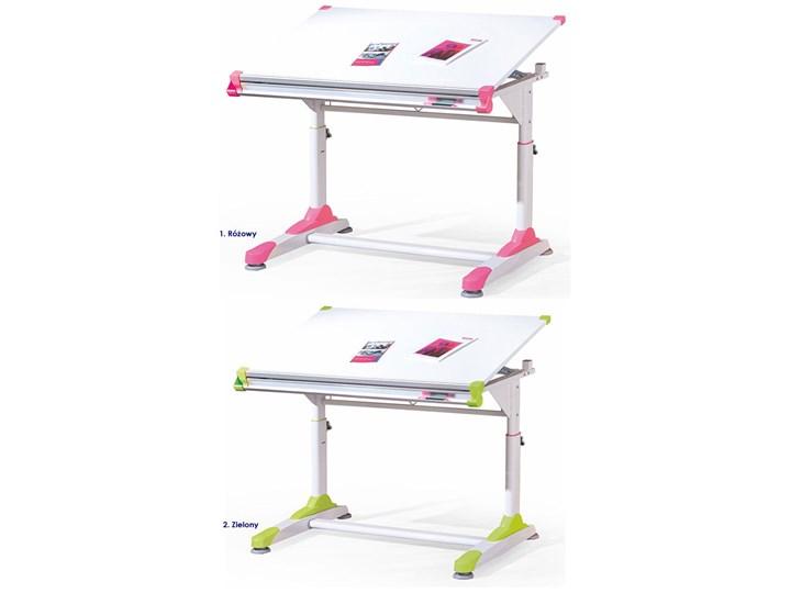 Młodzieżowe biurko regulowane Figar Płyta MDF Szerokość 66 cm Szerokość 100 cm Drewno Styl Nowoczesny Płyta meblowa Głębokość 66 cm Kolor Różowy