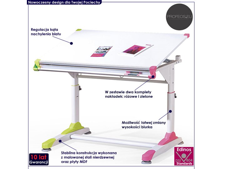 Młodzieżowe biurko regulowane Figar Szerokość 100 cm Płyta MDF Płyta meblowa Szerokość 66 cm Głębokość 66 cm Drewno Styl Nowoczesny