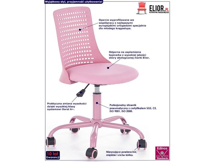 Obrotowy fotel dla dziewczynki Moli - różowy Wysokość 78 cm Szerokość 43 cm Wysokość 89 cm Tkanina Styl Nowoczesny