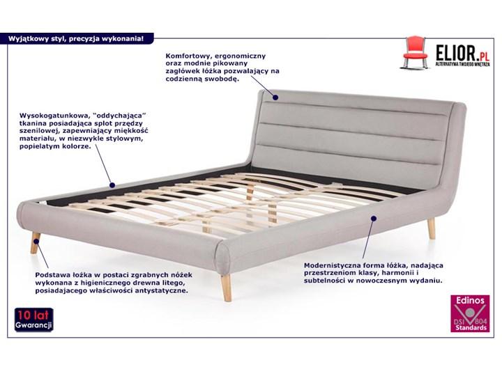 Łóżko Dalmar 140x200 - jasny popiel Kategoria Łóżka do sypialni Łóżko tapicerowane Kolor Szary