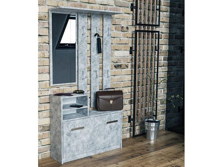 Industrialna garderoba z szafką na buty Salma - beton Kategoria Zestawy mebli do sypialni