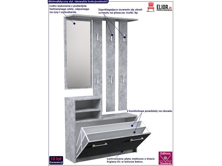 Industrialna garderoba z szafką na buty Salma - beton Kategoria Zestawy mebli do sypialni Kolor Szary