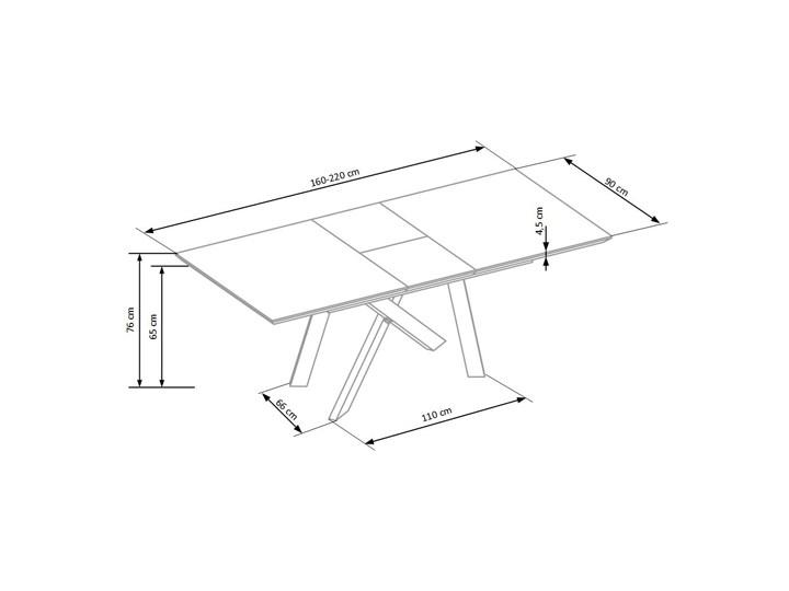 Stół rozkładany Fabier - złoty dąb Długość 90 cm  Długość 160 cm  Wysokość 76 cm Szerokość 160 cm Drewno Pomieszczenie Stoły do jadalni