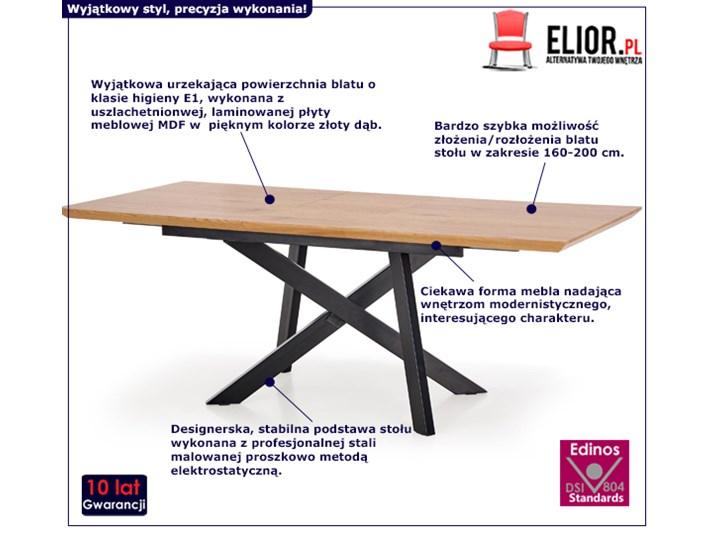 Stół rozkładany Fabier - złoty dąb Szerokość 160 cm Długość 160 cm  Długość 90 cm  Drewno Wysokość 76 cm Kategoria Stoły kuchenne