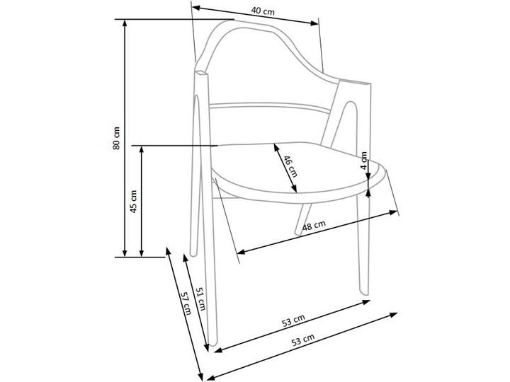 Krzesło z podłokietnikami Ebris - białe Wysokość 80 cm Z podłokietnikiem Szerokość 53 cm Kategoria Krzesła kuchenne Kolor Beżowy