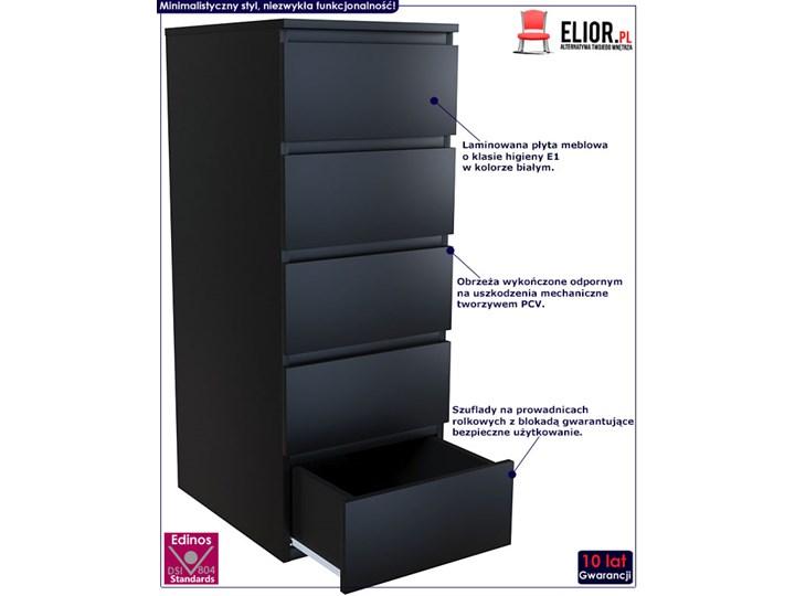 Wysoka komoda Luvia - czarna Wysokość 111 cm Styl Minimalistyczny Z szufladami Głębokość 45 cm Pomieszczenie Pokój nastolatka