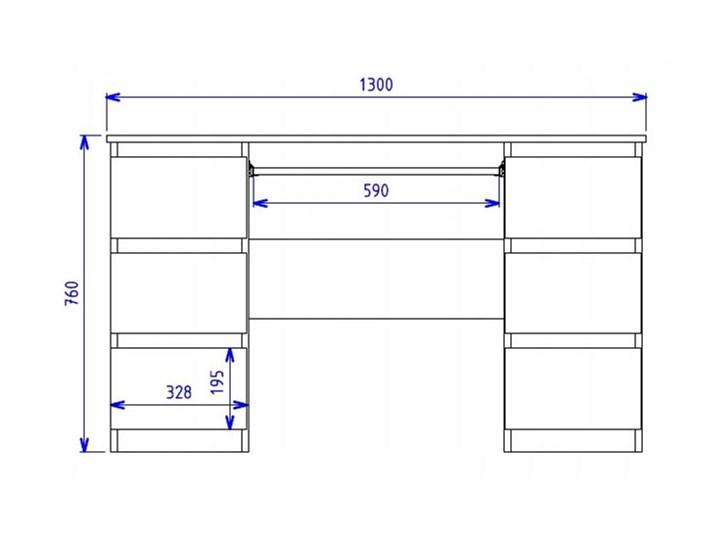 Białe biurko komputerowe - Liner 2X Kolor Biały Głębokość 130 cm Płyta meblowa Głębokość 50 cm Kategoria Biurka