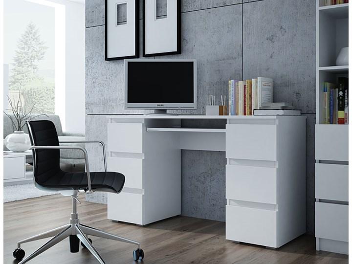 Białe biurko komputerowe - Liner 2X Głębokość 130 cm Płyta meblowa Głębokość 50 cm Kategoria Biurka