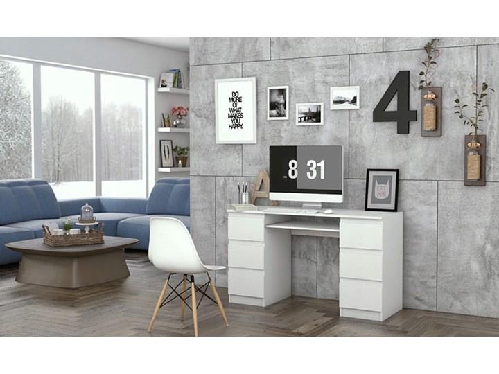 Białe biurko komputerowe - Liner 2X Głębokość 50 cm Kolor Biały Głębokość 130 cm Płyta meblowa Kategoria Biurka