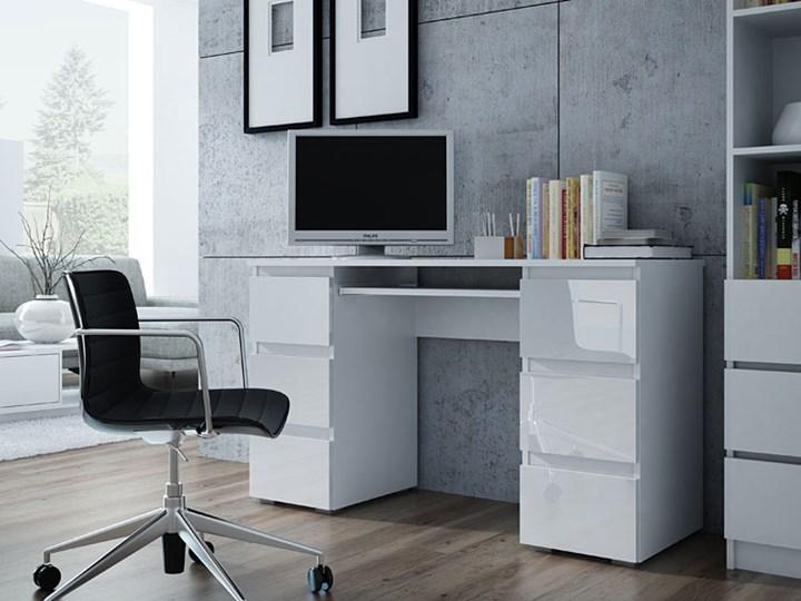 Lakierowane biurko Liner 3X - biały połysk Biurko tradycyjne Głębokość 130 cm Płyta meblowa Głębokość 50 cm Kategoria Biurka